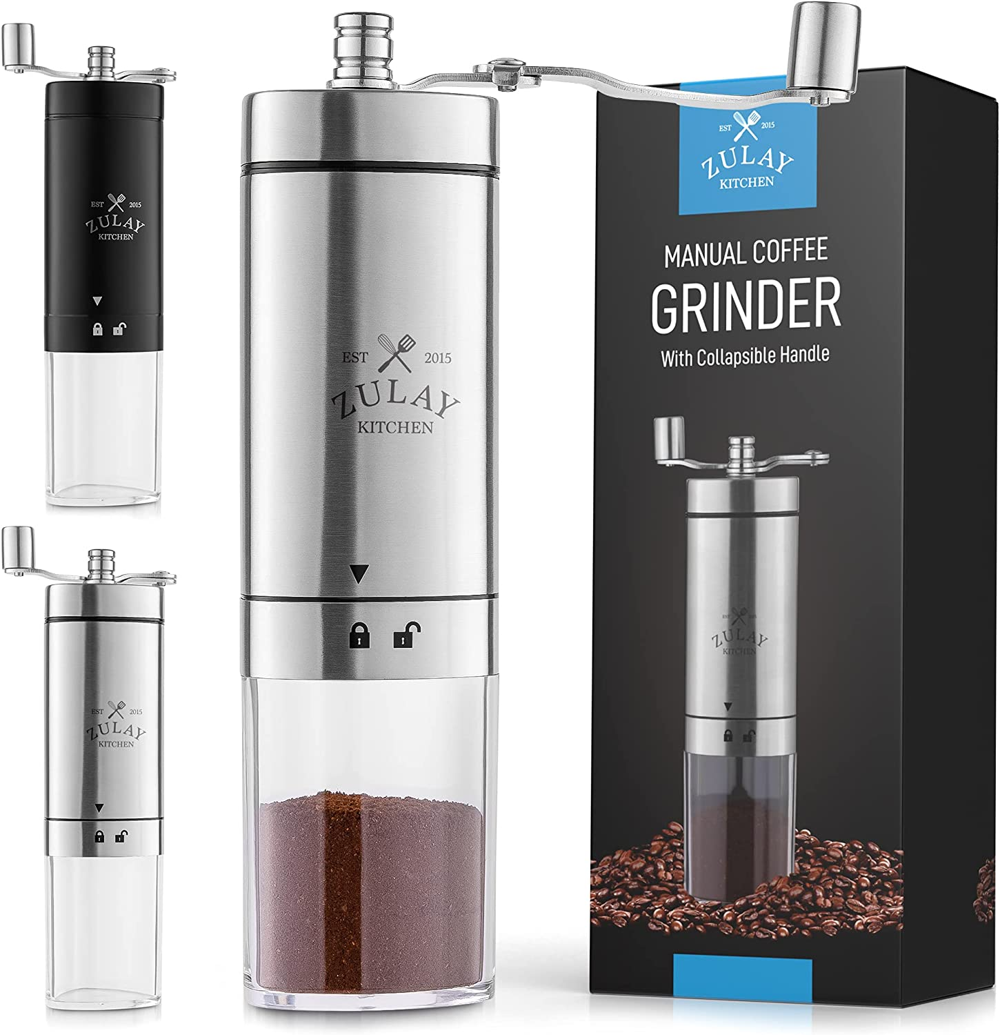 Zulay Manual Coffee Grinder With Handle online shop Foldable Popular product - Co Triangular