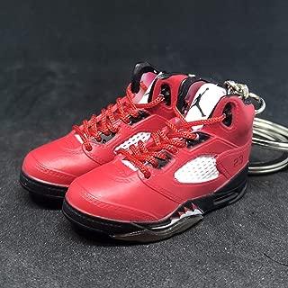 Pair Air Jordan V 5 Retro Raging Bull Toro Red OG Sneakers Shoes 3D Keychain 1:6 Figure