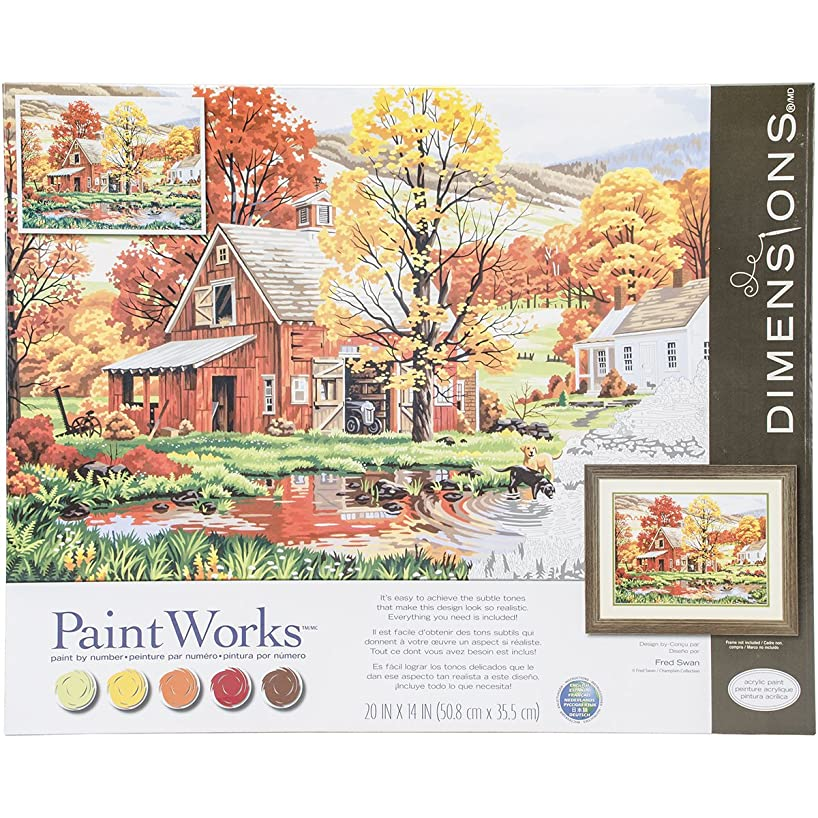 Dimensions Dogs in Autumn Paint by Numbers for Adults, 20'' W x 14'' L