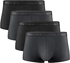 DAVID ARCHY Men's Dual Pouch Underwear Micro Modal Trunks Separate Pouches with Fly 4 Pack