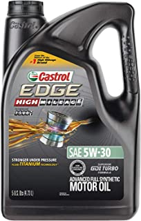 Castrol 03128C EDGE High Mileage 5W-30 Advanced Full Synthetic Motor Oil, 5 quart