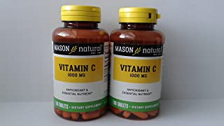 2 Pack Special of MASON NATURAL C-1000 MG PURE ASCORBIC ACID TABLETS 100 per bottle