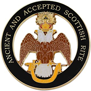 33rd Degree Double Headed Eagle (Wings Down) Ancient & Accepted Scottish Rite Masonic Round Black Auto Emblem - 3