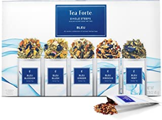 Tea Forte Single Steeps Bleu Herbal Tea Loose Leaf Tea Sampler, Assorted Tea Variety Pack, 15 Single Serve Pouches