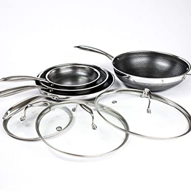 Hexclad Hybrid Nonstick Commercial Cookware 7 Piece Set with Lids and Wok, Metal Utensil Safe, Induction Ready