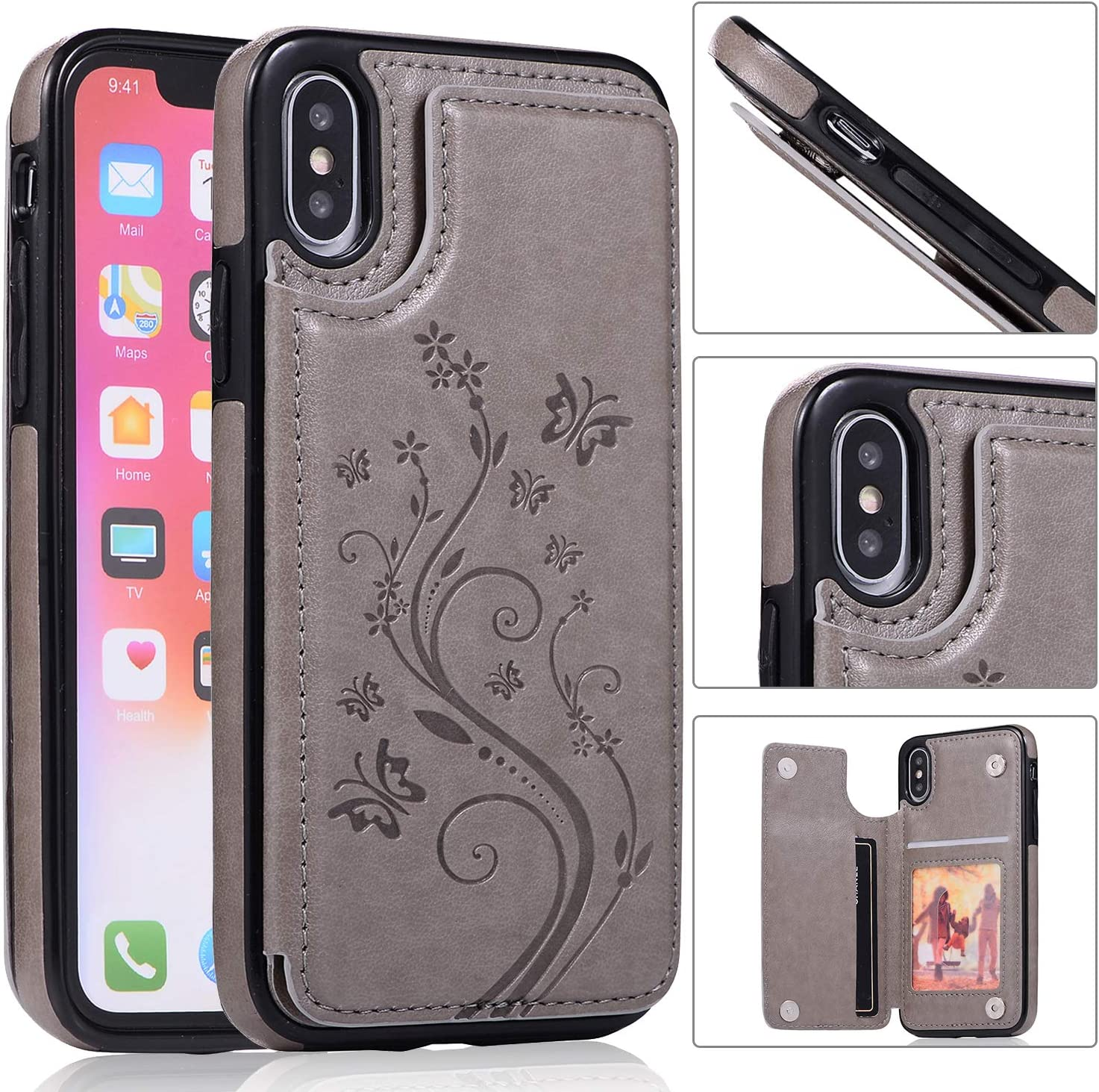 Back Wallet Case for iPhone X Stand QFFUN Emboss free with SEAL limited product XS Elegant