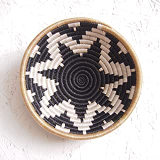 Small African Basket- Chwele/Rwanda Basket/Woven Bowl/Sisal & Sweetgrass Basket/Black, Tan, White