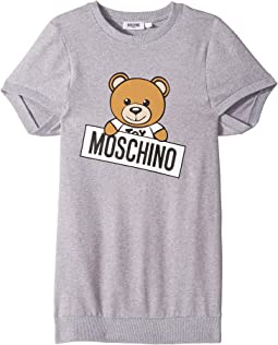 Short Sleeve Teddy Bear Logo Graphic Dress (Big Kids)
