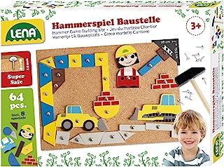 Lena 65828 hammarspel, nagelspel med 64 färgglada 8 byggarbetsplatsdelar, basplatta av kork ca 28 x 19,5 cm, hammare och s...