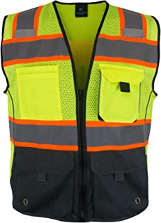 Kolossus Deluxe High Visibility Safety Vest with Multi Frontal Pockets   ANSI Class 2 Compliant
