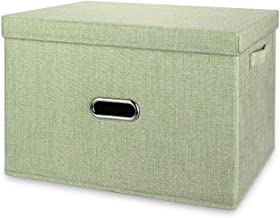 Valease Linen Fabric Collapsible Storage Bins with Removable Lids and Handles, Washable Storage Box Containers Baskets Cub...