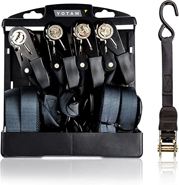 Yotam Black Cambuckle Ratchet Strap Tie Down Set 4 Pack Case Of 19 Ft Long 1 Inch Wide Adjustable Cargo Straps With Coated Hooks Perfect For Securing And Towing Pickup Vehicle Trucks Motorcycle