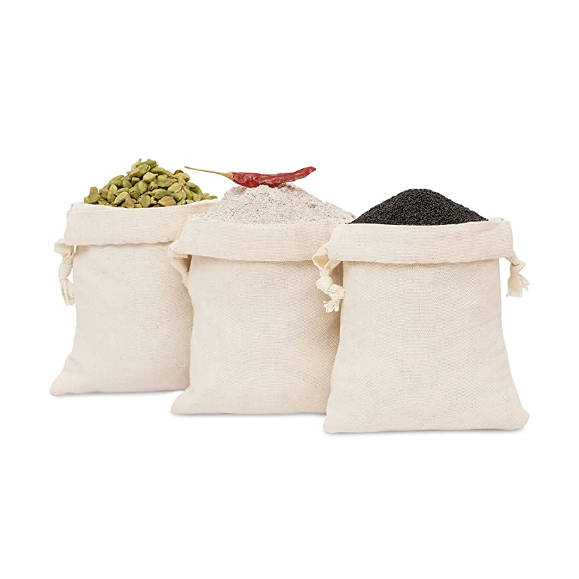 """Daily Home Essentials 100% Cotton Multipurpose Canvas Produce Bags With Drawstring Closure. For Shopping, Storage & Travel. 12 Pack. Small 5""""x7"""""""