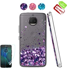 Moto G5S Plus Case, Moto G5S+ Case with HD Screen Protector for Girl Woman, Atump Cute Glitter Series Quicksand Liquid Floating Flowing Sparkle Bling Clear Soft Cool Case for Moto G5S Plus Purple