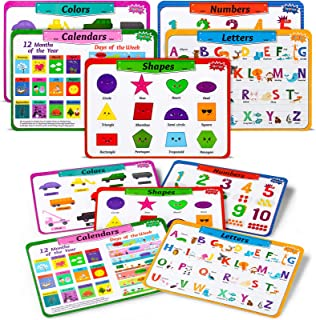 teytoy Kids Placemats Set of 5, Educational Toddler Placemats for Dining Table Learning Alphabet, Numbers, Shapes, Colors,...