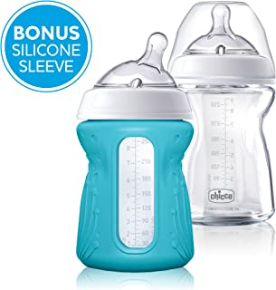 Chicco NaturalFit Glass 2 Pack Slow Flow with Bonus Silicone Sleeve, 9 Ounce, 0