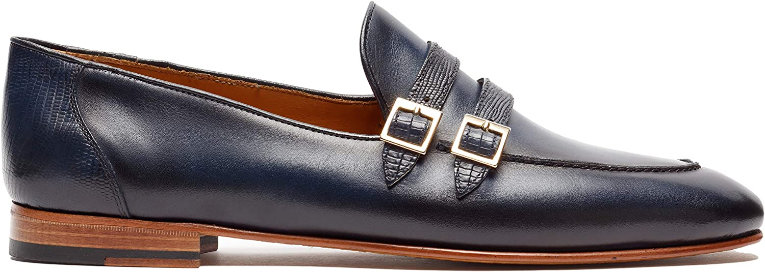 St.Ozzy London Same day shipping Chinua Men Leather Navy Loafers Import
