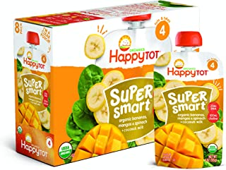 Happy Tot Organic Stage 4 Super Smart Organic Toddler Food Bananas/Mangos/Spinach Plus Coconut, 4 Ounce Pouch (Pack of 8)...