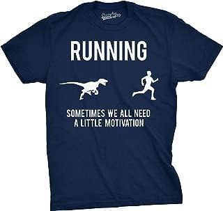 Mens Running Motivation Raptor Chase T Shirt Funny Dinosaur Tee for Guys