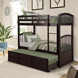 Twin Bunk Beds, Rockjame Twin Over Twin Solid Wood Bunk Bed Space Saving Design Sleeping Bedroom Furniture with Twin Trundle Bed, Ladder, Safety Rail and 3 Drawers for Boys, Girls and Kids (Espresso)
