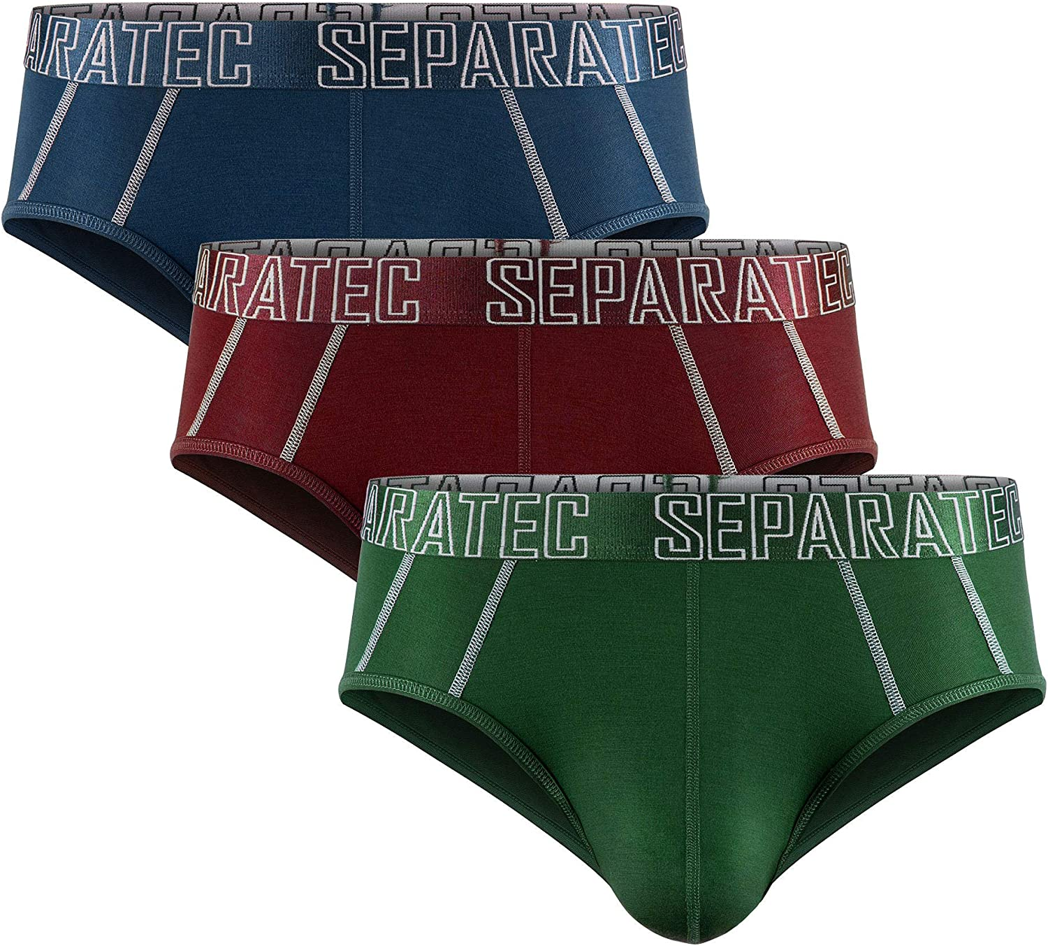 Separatec Men's Underwear 3 Pack Basic Bamboo Rayon Soft Breathable Dual Pouch Briefs