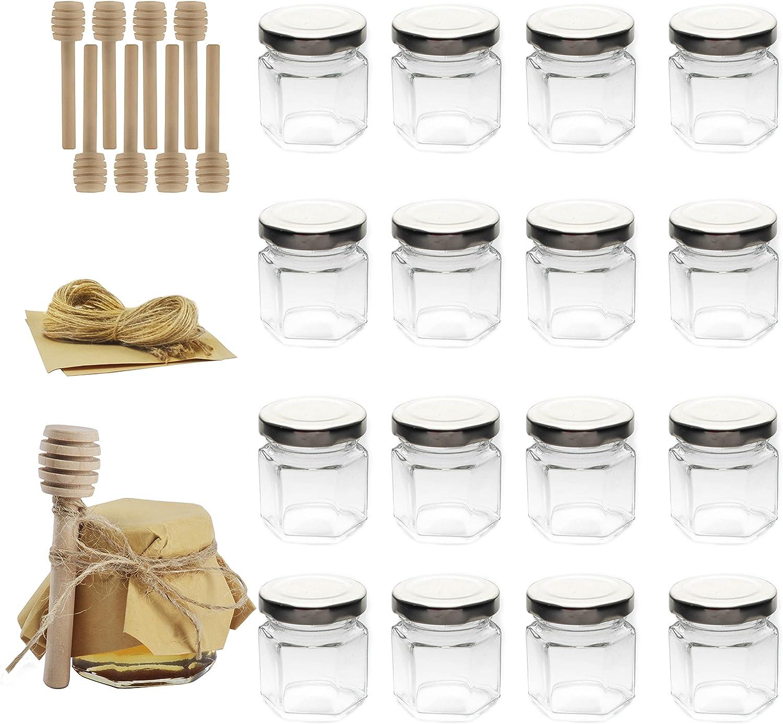Rormket 1.5oz Glass Hexagon Honey Jars Sliver Lids, Extra Wooden Honey Dipper Sticks,Tag String,Square kraft paper,24 Pack (silver)