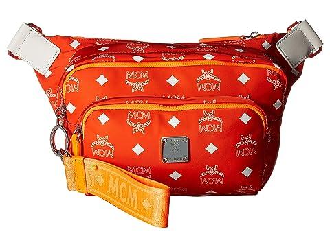 MCM Resnick White Logo Nylon Belt Bag Small