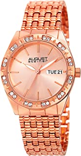 August Steiner Women's Rose-Tone Dial Stainless Steel Band Watch - AS8177RG, Analog, Quartz Movement
