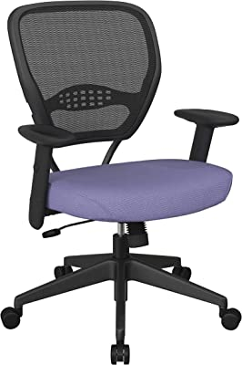 Space Seating 55 Series Professional Dark Air Grid Back Adjustable Manager's Chair with Lumbar Support and Padded Fun Colors Violet Fabric Seat