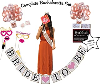 Bridal Shower Decorations, The Bachelorette Party Supplies Decorations, Bachelorette Adult Party Games- BONUS: Dare Card Adult Board Games For Groups & Bridal Shower Photo Booth Props