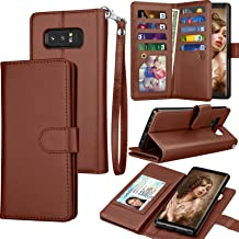 Tekcoo Compatible for Galaxy Note 8 Wallet Case/Samsung Galaxy Note 8 PU Leather Case, Luxury ID Cash Credit Card Slots Holder Carrying Flip Cover [Detachable Magnetic Hard Case] Kickstand Brown