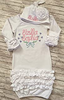 Baby Girl Coming Home Outfit Personalized Infant Girl Coming Home Outfit Personalized Baby Day Gown and Newborn Hat