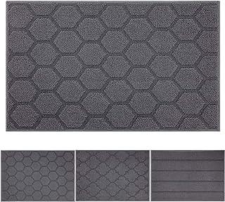 "Indoor Doormat Front Door Mat Non Slip Rubber Backing Super Absorbent Mud and Snow Magic Inside Dirts Trapper Mats Entrance Door Rugs Shoes Scraper Machine Washable Carpet - 24"" x 36"", Grey"