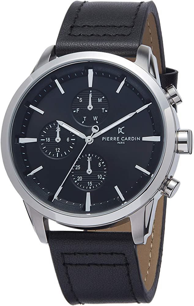 Pierre cardin,orologio per uomo,cinturino in pelle e cassa in acciaio inossidabile PC902741F102