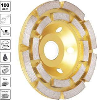 "Sunjoyco 4"" Diamond Cup Grinding Wheel, 12-Segment Heavy Duty Turbo Row Concrete Grinding Wheel Disc for Angle Grinder, for Granite, Stone, Marble, Masonry, Concrete (yellow)"