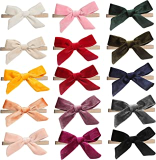 inSowni 15 Pack Solid Velvet Bow Super Stretchy Nylon Headbands Hairbands Accessories for Baby Girls Toddlers Newborns Inf...
