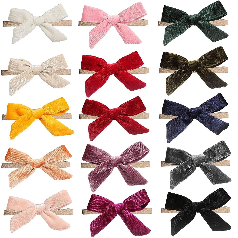 inSowni 15 Pack Solid Velvet Bow Bargain Nylon Headbands Stretchy Jacksonville Mall Super