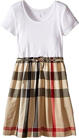 Burberry Kids - Rosey Rib Jersey & Woven Mix Dress (Little Kids/Big Kids)
