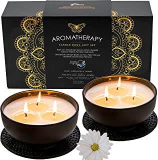 Suziejo - AROMATHERAPY CANDLE GIFT SET - Soy Candles - 3 Wick, Large White Candles, for Stress Relief, Relaxing, Meditatio...