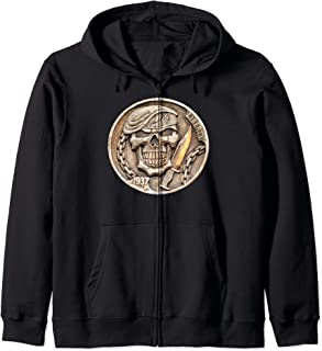 Buffalo Nickel Beret Skull ~ Combat Soldier Knife Zip Hoodie