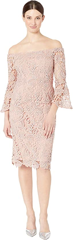 Metallic Lace Off the Shoulder Sheath