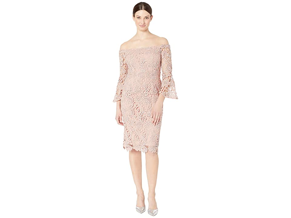 MARINA Metallic Lace Off the Shoulder Sheath (Blush) Women's Clothing, Pink