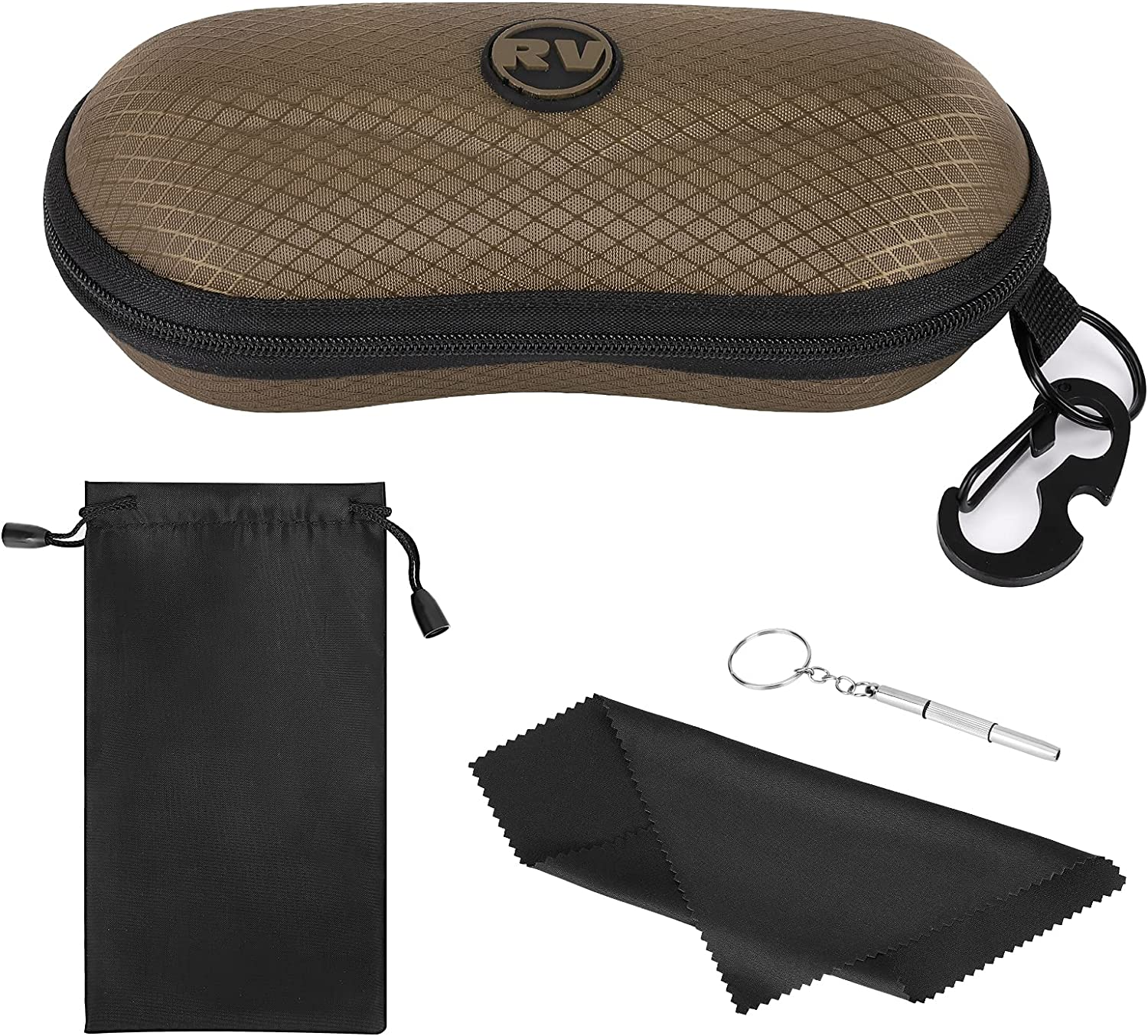 Rhino Valley Sunglasses Case, EVA Hard Shell Sports Eyeglasses Organizer Case with Metal Hanging Hook and Screwdriver