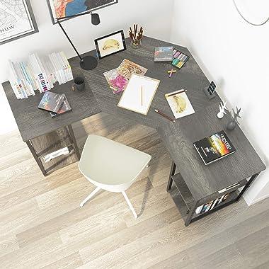 Elephance Large L-Shaped Computer Desk with Shelves, Corner Desk, Home Office Writing Workstation, Gaming Desk PC Latop Table