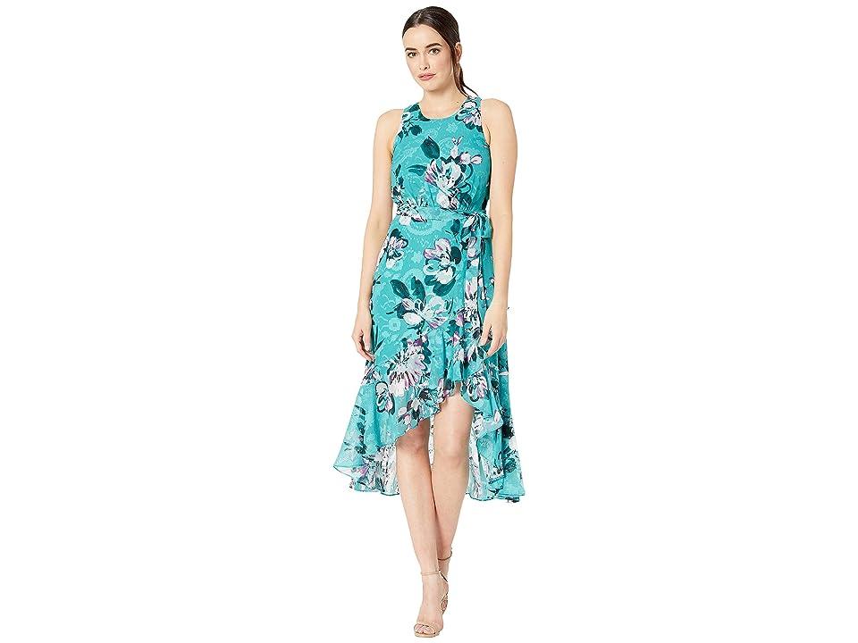 Taylor Sleeveless Floral Print Ruffle Hem Midi Dress (Jade/Deep Fuchsia) Women
