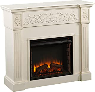 Southern Enterprises Calvert Carved Electric Fireplace, Ivory Finish with Brushed Texture