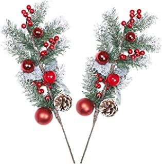 GTIDEA Christmas Flower Decoration 20 inches Artificial Cedar Picks Cypress Leaves Pine Cones Stem with Red Berries and Christmas Ball for Xmas Holiday Party Festival Room Ornaments 2 Pack