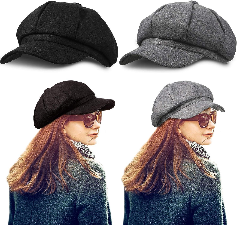 2 Pieces Visor Beret Newsboy Hat Adjustable Women Cap Cabbie Beret Octagonal Cap Soft Woolen Beret for Women