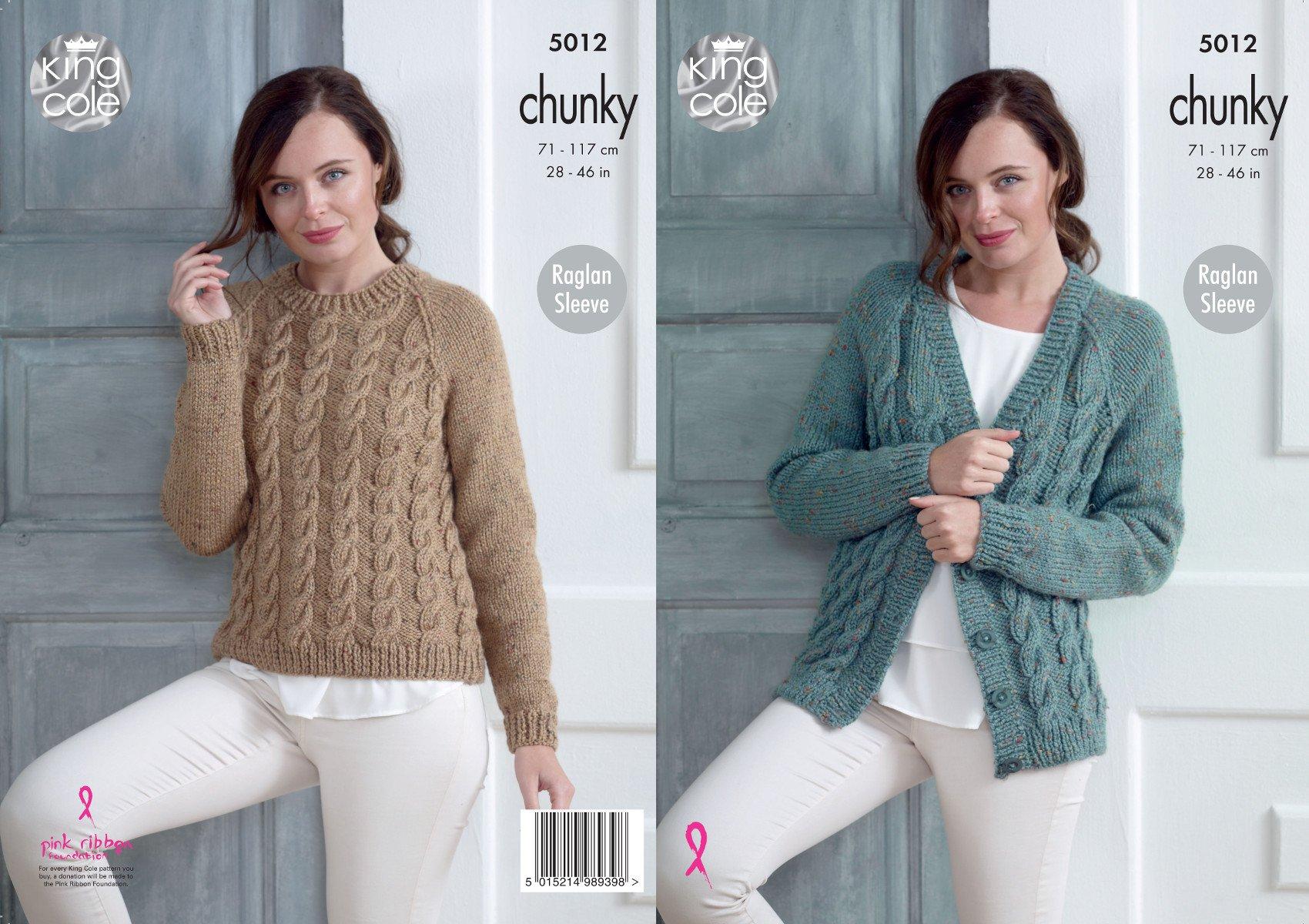 King Cole Ladies Chunky Knitting Pattern Womens Raglan