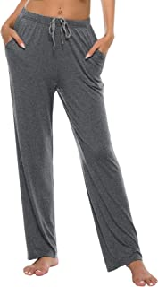 JINSHI Women's Pajama Pants Modal Pajama Bottoms Knit Sleep Pants with Pockets
